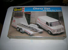 VINTAGE REVELL CHEVY VAN WITH RACE CAR TRAILER NHRA NASCAR USAC UMP HAULER