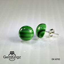 Clearance Malachite cabochon sterling silver stud earrings free shipping