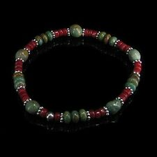 PETITE .925 Sterling Silver Natural Turquoise Coral Stretch Bracelet