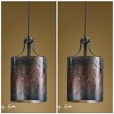 "TWO 16"" COPPER FINISH HANGING PENDANT LIGHTS RUSTIC WESTERN LIGHTING POOL TABLE"