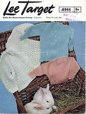 """Lee target 6564 VINTAGE Baby knitting pattern Cardigan 4 Ply 16-20 """" 0-12 mesi"""