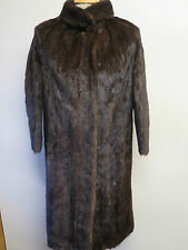 Vintage Genuine Dark Brown European Mink Fur long coat L UK 14/16 Euro 42-44