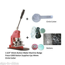 "1-3/4"" 44mm Pin Badge Button Maker Machine+1000 Buttons+Circle Cutter"