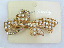 60% OFF! FASHION JEWELRY SIMULATED PEARLS W/ RHINESTONES HAIR CLIP #15 P178