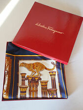 "100% Ferragamo Blue Jungle Tiger Lions Silk Scarf Foulard Carre 34"" MINT in Box"