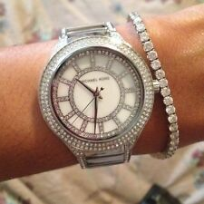 NEW MICHAEL KORS MK3311 KERRY SLIM PAVE GLITZ MOP DIAL SILVER TONE WOMEN'S WATCH
