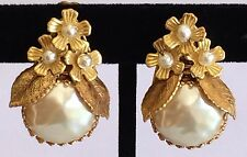Vintage Miriam Haskell Earrings~Baroque Pearl/Seed Pearls/GoldTone Filigree~Sign