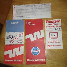 Vintage Western Airlines Ticket Folders Plus Boarding Pass & Used Ticket