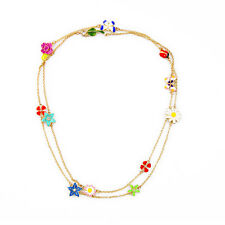 Summer Fashion Colorful Enamel Flowers Butterfly Ladybug Charms Long Necklace