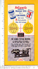 7233 Atlantic Motor Oil c 1965 mechanical trade card Almen Testing Machine car
