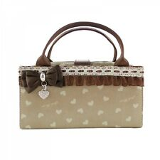 JACKI DESIGN Hearts BROWN/BEIGE Laced/Bow 2 in 1 Cosmetic Organizer Bag - NEW!