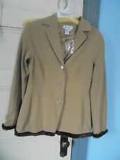 SPIEGEL Size 10 New Camel Brown lined jacket Faux Fux trim Fitted