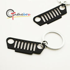 One Piece Black Chrome Jeep Front Bumper Grill Shape Key Chain Ring Keychain