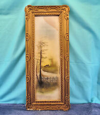 Antique Pastel Framed Painting by M Degraff -House by the Road at Sunset or Dawn