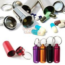 Aluminum Waterproof Pill Box Case Stash Holder Keychain
