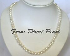 "Long 24"" Lustrous Genuine 7-8mm White Pearl Strand Necklace Cultured Freshwater"