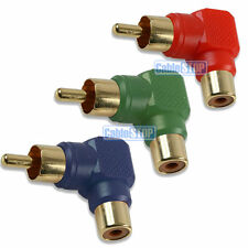GOLD 3 x RED GREEN BLUE RIGHT ANGLE RCA PHONO RGB VIDEO CABLE 90 DEGREES ADAPTER