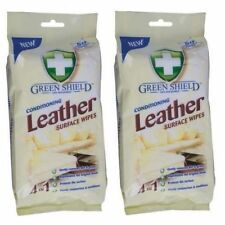 2 x Green Shield® Leather Conditioning Cleaning Surface Large Wipes 50 Sheets