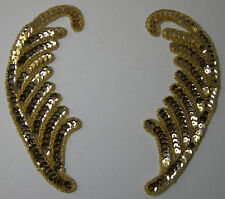 """2 Fancy Big Gold Color BEADED SEQUIN LEAF or FEATHER DECORATIONS 7"""" x 4"""" NEW"""
