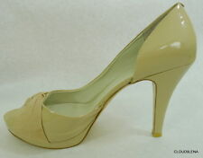 EUC NINE WEST 10M  Faux Nude patent Open Toe High Heels Platform Pumps Shoes