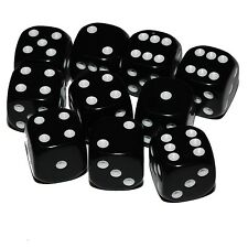 10 Black Dice, (six sided), 16mm , D6