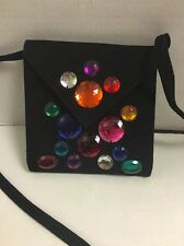 SONIA RYKIEL Rare Black Suede Jeweled Crossbody Evening Bag
