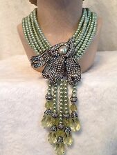 Heidi Daus CAPTIVATING CALLA LILY 6 Strand Green Pearl Tassel Necklace