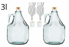 Set for Making Wine Glass Demijohn 3l + Airlock Bubblers + Bung Free P&P UK