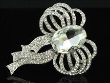 80mm 18 white silver GP Clear Swarovski crystal ribbon Bowtie Bridal Brooch D25