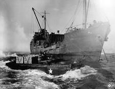 Photo. WW2. At Sea Unloading Wooden Crates of a Ship in a DUKW