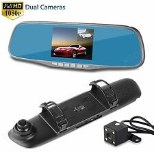 HD 1080P 4.3'' Dual Lens Car Dash Cam Rearview DVR Video Camera Recorder Mirror