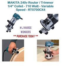 "MAKITA 240v Router / Trimmer 1/4"" Collet - 710 Watt - Variable Speed - RT0700CX4"