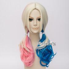 Blue Pink Mixed Blonde Long Braids Anime Cosplay Wig for Batman Harley Quinn
