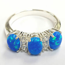 Victorian Style Dark Blue Gilson Opal Trilogy Ring 925 Sterling silver 8