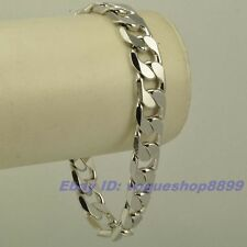 "9""12mm38g REAL MEN 18K WHITE GOLD GP CURB BRACELET SOLID FILL GEP CHAIN LINK"