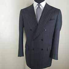 LUCIANO BARBERA   DOUBLE BREASTED SPORT COAT GRAY STRIPE SIDE VENTS 44 LONG MINT