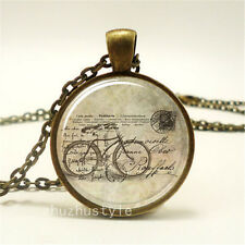 Vintage bike Cabochon Glass Dome Necklace Photo Pendant Chain Necklace f2