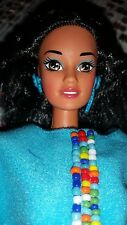 BARBIE DOLL BRUNETTE BLACK HAIR TERESA SPANISH NATIVE AMERICAN 1993 DOTW VINTAGE