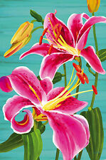 "Pink Day Lily Spring House Flag Large Decorative Yard Banner 29"" x 43"""