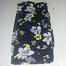 Agnes & Dora Leggings Large Elastic Waist Floral Flowers Black Yellow Lilac New