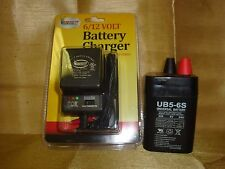 UB5-6S 6VOLT 5AH RECHARGEABLE SEALED 6V 5AMP BATTERY & AC CHARGER W LED LIGHTS