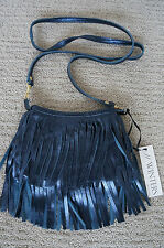 NEW JJ Winters BOHO Fringe Suede Vanessa Mini Crossbody Shoulder Bag Blue UNIQ