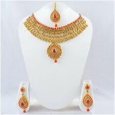 Indian Bollywood Bridal Necklace Pendant Gold Tone Fashion Jewelry Earrings Set