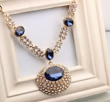 Women's Unique Large Oval Blue Gem Crystal Golden Chunky Chain Collar Necklace