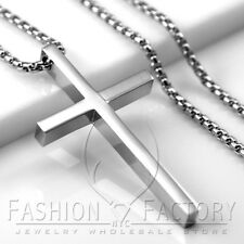 MEN Stainless Steel Simple Slim Cross Pendant Smooth Box Link Necklace Large 13C