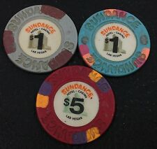 Set of 3 Sundance $1-$5 Casino Chips Las Vegas NV House Paulson FREE SHIPPING
