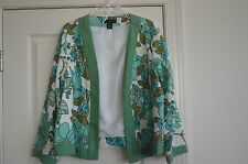Silk Land Size 2X Teal & White Floral Long Sleeve Jacket ~Bead & Sequin Accents