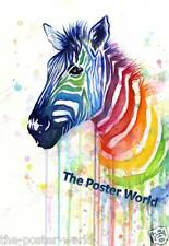 Zebra watercolour Wildlife Picture Poster Home Art Print Wall Decor New H2