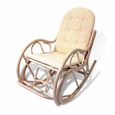 Designer Rocking Chair Rattan w/Cushions White Wash ONLY LOCAL PICKUP