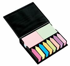 Sticky Memo Note Holder Holder With Index Tabs Leather Look Case Post It Gift
